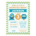 boys monsters chevron birthday invitations