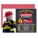 boys photo fire engine birthday invitation