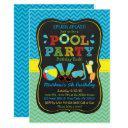boys pool party 1st birthday invitation