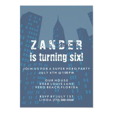 Small Boys Super Hero City Birthday Party Invitations Front View