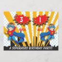 boys superhero birthday invitation