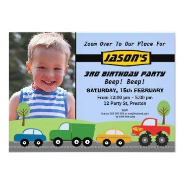 boys transport birthday party invitation
