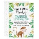 boys watercolor little monkey birthday invitation