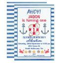 boys watercolor nautical birthday invitations