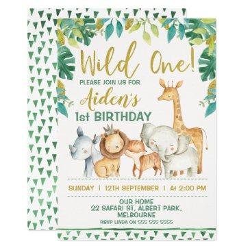 boys wild one safari first birthday invitation
