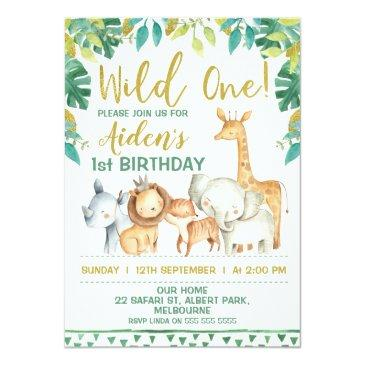 Small Boys Wild One Safari First Birthday Invitations Front View