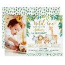 boys wild one safari photo 1st birthday invitation