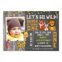 boys wild safari animals 1st birthday invitation