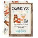 boy's woodland animals birthday thank you invitations