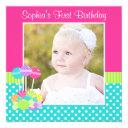 bright candy polka dot girl 1st birthday photo invitations