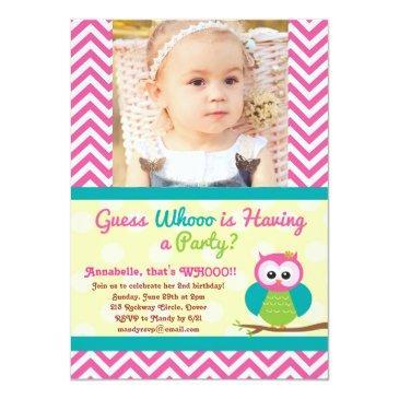 bright chevron owl (photo) birthday invitations