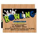 bright & fun bowling birthday invitations