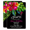 bright tropical floral hibiscus & leaves sweet 16 invitation