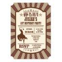 brown cowboy rodeo birthday party invitation