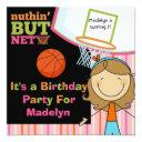 brown hair girl basketball birthday invite