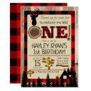 buffalo check flannel wild one deer 1st birthday invitation
