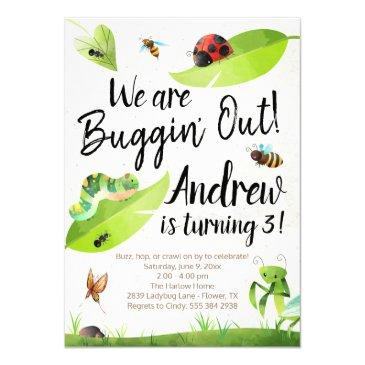 bug birthday invitation - we are buggin' out!