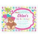 build a bear girl's birthday party invitation