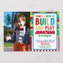 building block birthday bricks party photo invitation