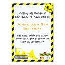 bulldozer construction birthday invitations