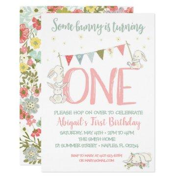bunny birthday invitation, bunny first birthday invitation