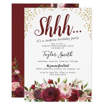 burgundy blush floral surprise birthday party invitation