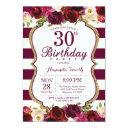 burgundy floral 30th birthday party invitations