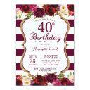 burgundy floral 40th birthday party invitation