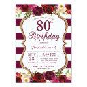 burgundy floral 80th birthday party invitation