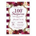 burgundy floral surprise 100th birthday party invitation