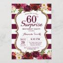burgundy floral surprise 60th birthday party invitation
