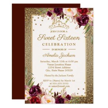 burgundy gold floral sparkle sweet sixteen invitation
