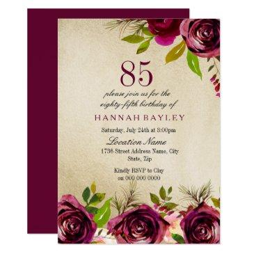 Burgundy Marsala Floral Gold 85th Birthday Invite