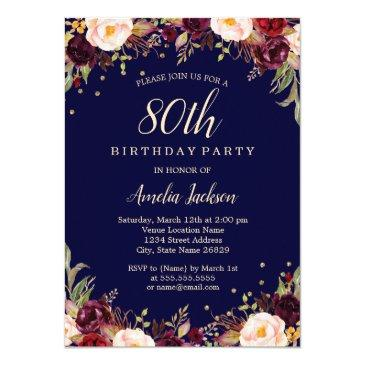 Burgundy Navy Elegant Floral 80th Birthday Party Invitations