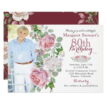 burgundy pink country rose photo 80th birthday invitations