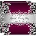 burgundy silver floral black birthday party invitations
