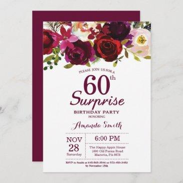 burgundy surprise floral 60th birthday party invitation