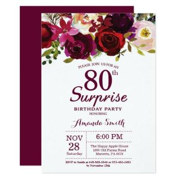 burgundy surprise floral 80th birthday party invitations