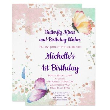 butterfly girl first 1st birthday invitations