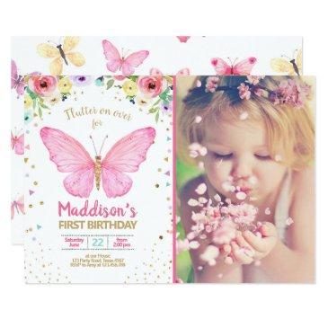 butterfly kisses garden floral confetti birthday invitation
