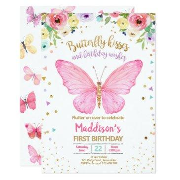 butterfly kisses garden floral confetti birthday invitation