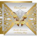 butterfly quinceanera 15th party gold silver tiara invitation