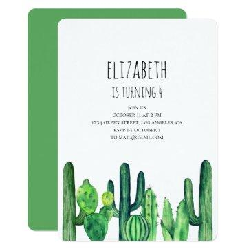 cactus birthday party invitation. green cacti invitation