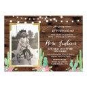cactus photo birthday floral any age invitations