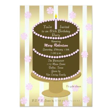 cake 85th birthday party invitations 85th in pink