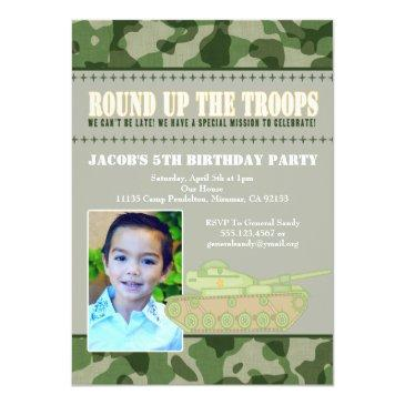 camo green army men birthday party invitation