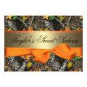 camo & orange sweet sixteen invitation