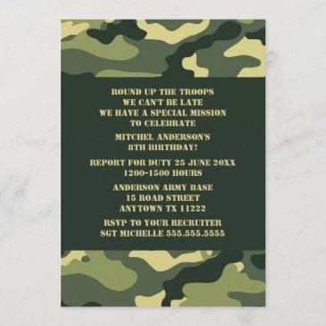 camouflage birthday party invite - realistic camo