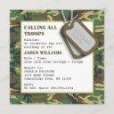 camouflage / camo birthday party with dog tags invitation