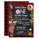 camper buffalo plaid 1st birthday camping invitation